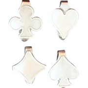 Sterling Playing Card Pips Solid Silver Vintage Bridge Clips for Hearts Spades Diamonds Clubs