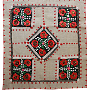 SOLD Hungarian Hand Embroidered Table Cloth Vibrant Rustic and Charming