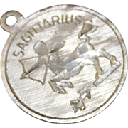 Sterling Sagittarius Zodiac Charm Solid Silver Coin Style Charm With Etched Archer