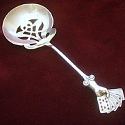 Antique Victorian Sterling Enamel Bon Bon Spoon, Figural Playing Cards, Gin Rummy or Poker, ..