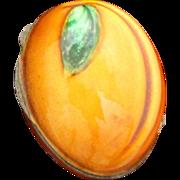 Exceptional Italian 800 Silver Apricot Box With Decorative Enamel 1960's Snuff or Pill Box