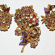 Robert  Red Aurora Borealis Rhinestone Pin Brooch Earrings Set