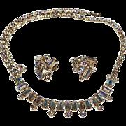 Sherman Aurora Borealis Rhinestone Set Necklace and Earrings