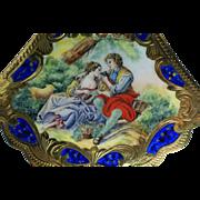 SOLD Vintage 800 Silver Enamel Italian Pastoral Scene Compact