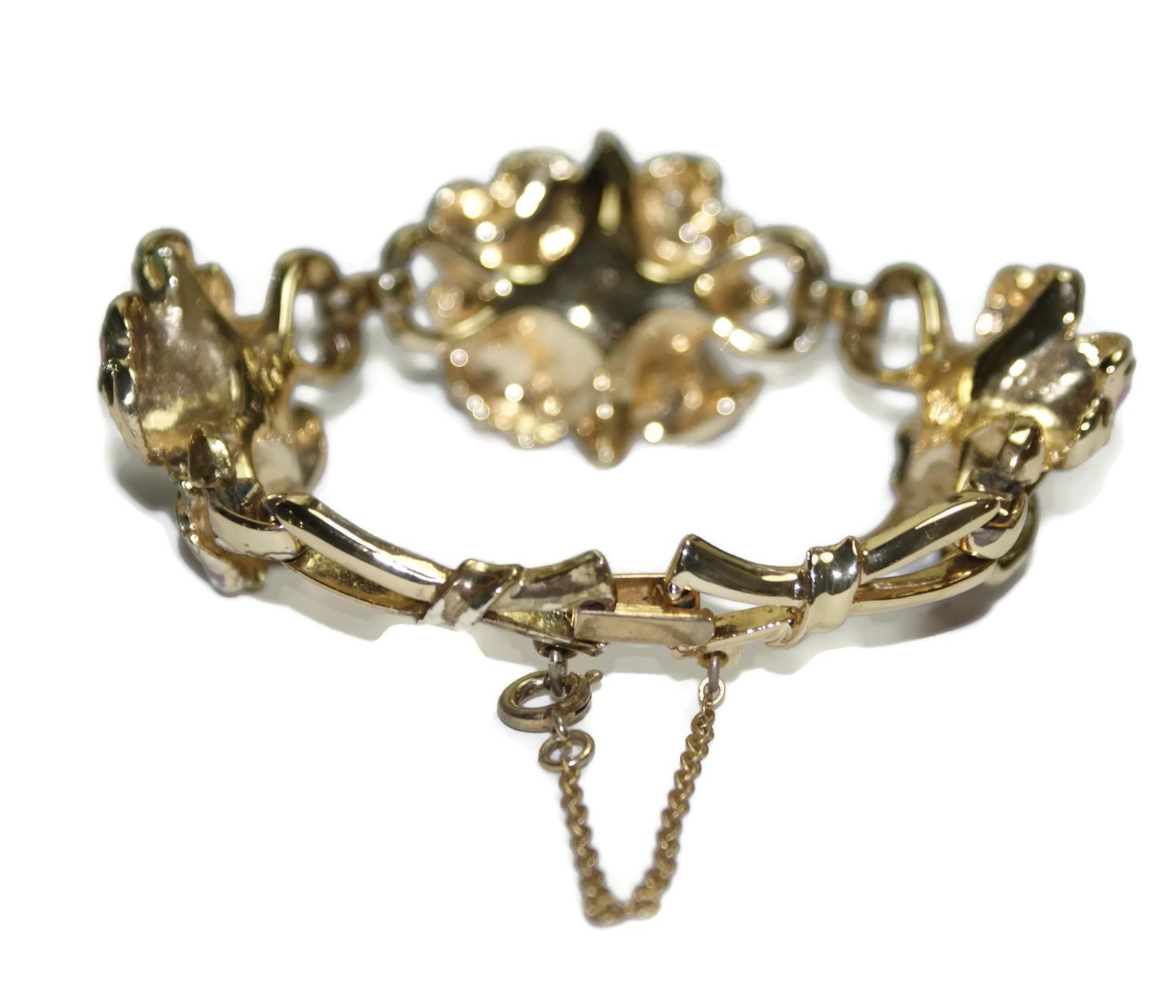 coro enamel rhinestone floral bracelet from luminousbijoux