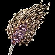 Trifari Sterling Faux Amethyst Rhinestone Floral Pin Brooch 1940's