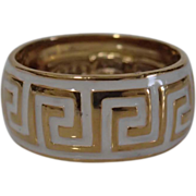 Lovely Vintage Signed MILOR Greek Key Sterling Band From Italy Size 7