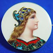 18k Art Nouveau Enameled  Limoge Pin