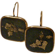24k Gold Flakes in Rich Forest Green Resin 24k gold plated square bezel earrings