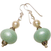 Artisan Mint Green Lampwork Beads and Swarovski Cream Faux Pearl and 0.925 Sterling Silver Accents