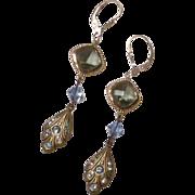 Black and Blue - Swarovski Black Diamond Crystals and Aquamarine Crystal Bicone Long Dangle Earrings