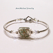 Celdon Green, Cream and Goldstone Artisan Lampwork Bead Bangle Bracelet with Crystal and Silve