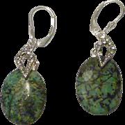 Dark Blue/Green Turquoise and Rhinestone Earrings