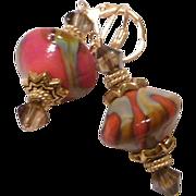Desert Shades - Coral and Tan Lampwork Bead Earrings