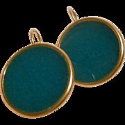 Dark Turquoise Resin Stud Earrings in 24k gold plated Bezels