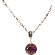 Faceted Amethyst Quartz Pendant and Necklace