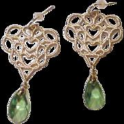 Faceted Peridot Crystal Teardrops and Goldtone Filigree Earrings