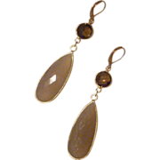 Faceted White Onyx Teardrops in Gold Vermeil Bezel Earrings