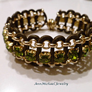 Leather and Olive Crystal Cuff Bracelet