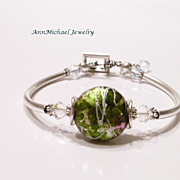 Pine Green and Silver Swirl Lampwork Bead and Crystal Bangle Bracelet