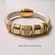 Hollywood Royalty White Leather Pave Crystal Bangle Bracelet