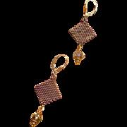 Handwoven Faceted Swarovski Crystal Luminous Green Rondelles Earrings