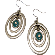 Antiqued Silvertone Multihoop Earrings with Turquoise Colored Resin and Crystal Accents
