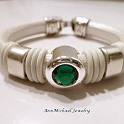 Metallic Pearl White Licorice Leather Birthstone Bracelet - May