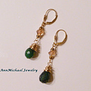 14k Gold-Filled Wire Wrapped Natural Emerald Faceted Briolettes and Crystal Teardrop Earrings