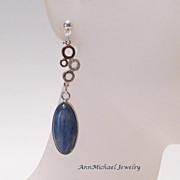 Dark Denim Blue Kyanite Teardrops Rhinestone Accented Silvertone Bubble Link Earrings on 0.925