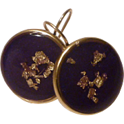 24k Gold Flakes in Rich Violet Resin Earrings in 24k gold plated bezels