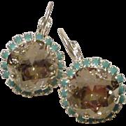 Swarovski Cushion Cut Silver Shade Crystal in Turquoise Crystal Bezel Earrings