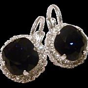 SALE Swarovski Cushion Cut Blue Indigo Crystal Framed Earrings