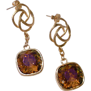 Swarovski Cushion Cut Astral Pink Crystals with Matte Gold Plated Rose Link Earrings
