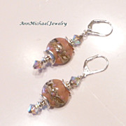 Soft Peach and Sand Artisan Lampwork Bead Earrings with Silver Accents