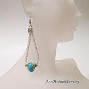Blue Lampwork Beads and Silvertone Capture Teardrop Earrings