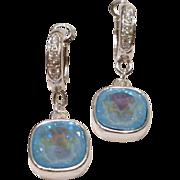Swarovski Ultra Blue AB Crystals with Sterling Silver Cubic Zirconia (CZ) Embellished Fancy ..