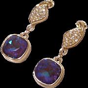 Swarovski Ultra Purple AB Crystal Earrings on Goldtone Cubic Zirconia Leaf Posts