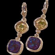 Swarovski Ultra Purple AB and Luminous Green Cushion Cut Gold Plated Bezeled Earrings