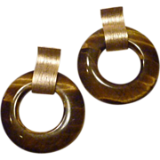 Tigereye and Matte Gold Plated Earrings