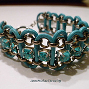 Turquoise Blue Leather and Crystal Chain Bracelet