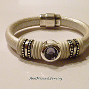 SOLD Metallic Pearl White Licorice Leather and Tanzanite Color CZ Bangle Bracelet