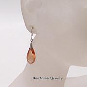 Cubic Zirconia (CZ) Peach Teardrop Earrings