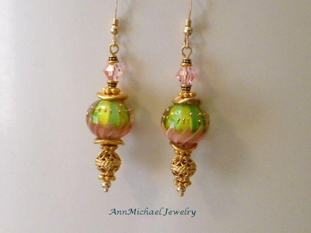 Pink, Green and Vermeil Lampwork Bead Earrings - Summer Fun
