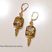 SOLD Olive, Gold and Topaz  Lampwork Bead and Crystal Earrings