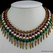 Fringe Necklace of Gilt Metal, Beads and faux Pearls