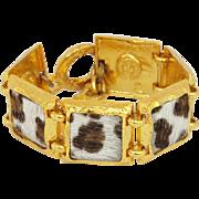 Edouard Rambaud Paris Signed Vintage Link Bracelet chunky goldtone faux fur