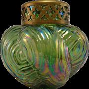 Bohemian Spiral Optisch Green Iridescent Posy Vase, c. 1910