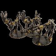 REDUCED Frolicking Horses, Vintage Dale Warren Horseshoe Nail Sculpture