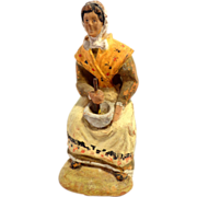 Terracotta Santon, Figurine of Peasant Woman, 1923